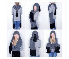Gray hooded scarf wo..