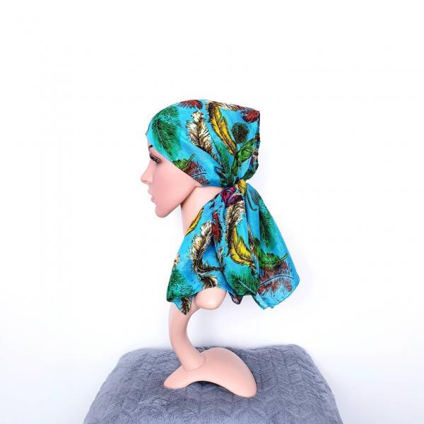 Boho Head Scarf for Women Headwrap Bohemian Headscarf Chemo Headwear for Cancer Large Hair Scarf Blue Head Wrap Unique gift Fall accessories