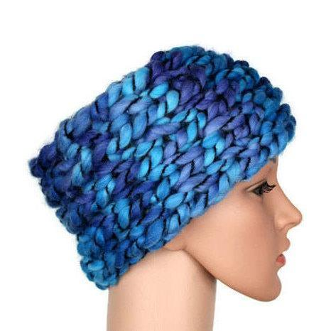 Blue womens knitted headband Secret santa gift for women Christmas gifts for coworkers women Christmas presents mom Unique gifts friends
